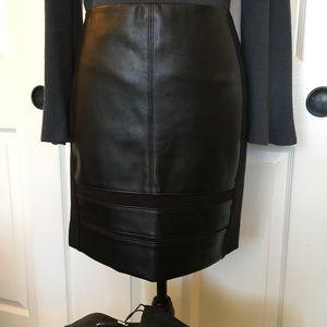White House/Black Market Faux Leather/Ponte Skirt